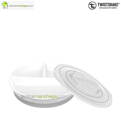 Twistshake Plato dividido con Tapa y Base antideslizante +6M, color Blanco [0]