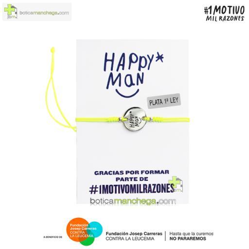 Pulsera solidaria HAPPY MAN contra la Leucemia - Proyecto 1MOTIVOMILRAZONES, Color Amarillo Flúor [0]