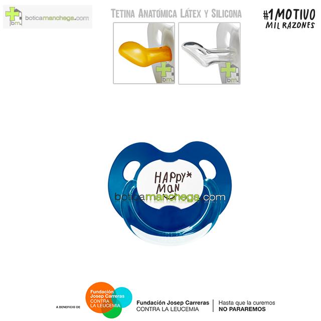 Chupete HAPPY MAN contra la Leucemia Tetina Anatómica Látex o Silicona Proyecto 1MOTIVOMILRAZONES - Azul Marino