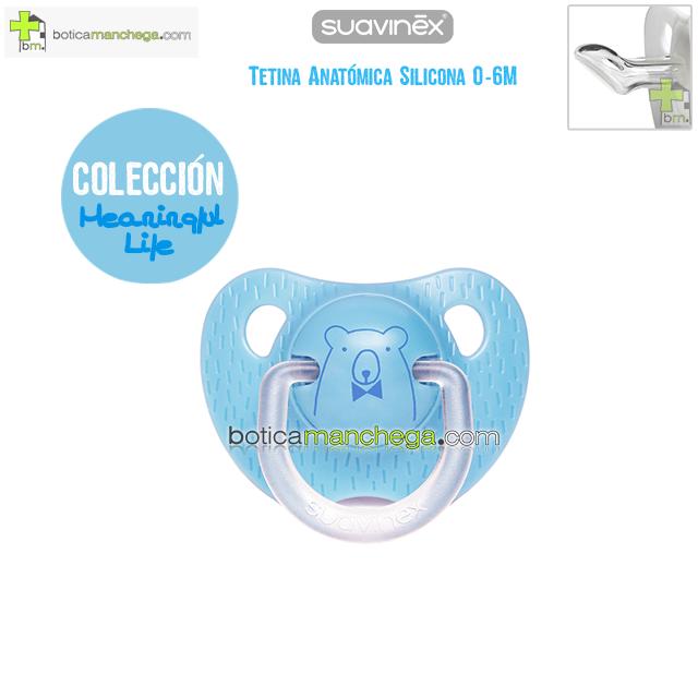 Chupete 0-6M Suavinex Evolution Tetina Anatómica Silicona Colección Meaningful Life Modelo Azul Oso