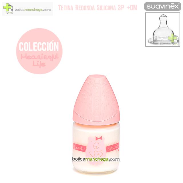 Biberón Vidrio 120 ml +0M Tetina Redonda 3 Posic. Silicona Suavinex Colección Meaningful Life Mod. Rosa/Coral Osita