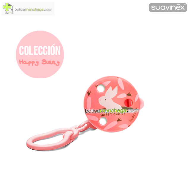 Suavinex Broche Pinza Clip Redondo +0M - Colección Happy Bunny