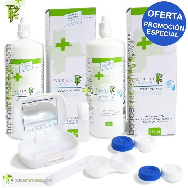 PROMO RF Solución Única para lentes de contacto blandas 2 x 360 ml + REGALO: 2 Portalentes + Kit Higiene Lentillas Viaje