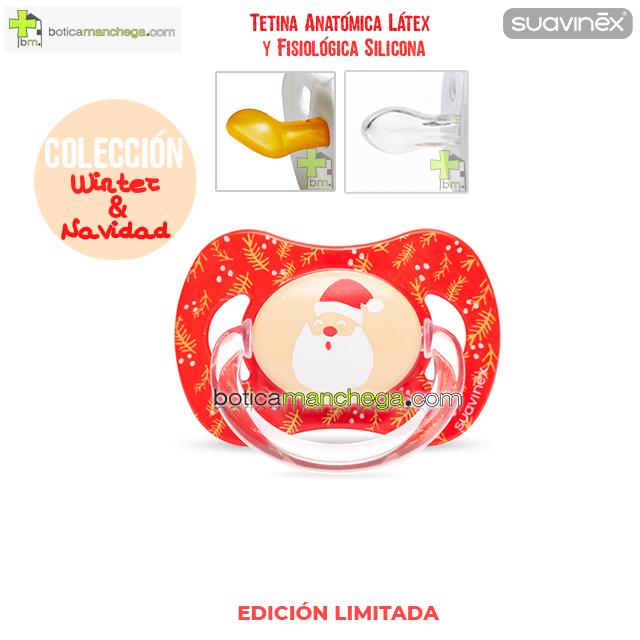 Chupete WINTER/NAVIDAD Suavinex Modelo Papá Noel, Tetina Anatómica Látex y Fisiológica Silicona