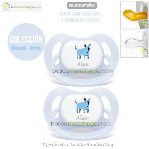 Suavinex Pack 2 Chupetes Personalizados Colección Good Dog, Modelo Azul Bull Terrier, Tetina Anatómica Látex o Fisiológica Silicona [1]