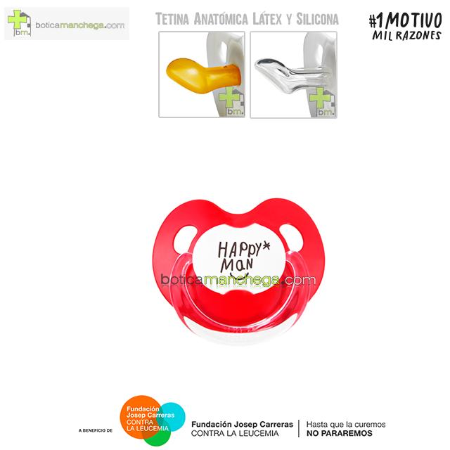 Chupete HAPPY MAN contra la Leucemia Tetina Anatómica Látex o Silicona Proyecto 1MOTIVOMILRAZONES - Rojo