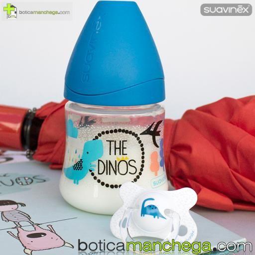 Suavinex Chupete Fusion -2-4M TOP TRENDS: Colección The Dinos, Tetina Anatómica Látex Mod. Blanco Dino [1]