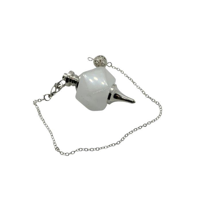 Péndulo poliedro de cuarzo blanco