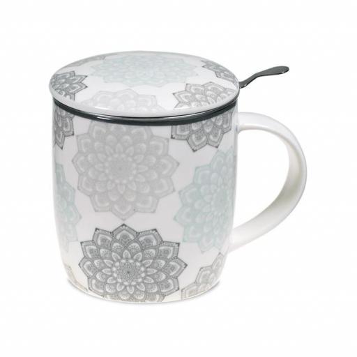 Taza con mandala gris