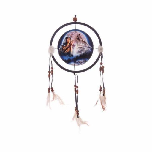 Atrapasueños pequeño lobo, indio y luna