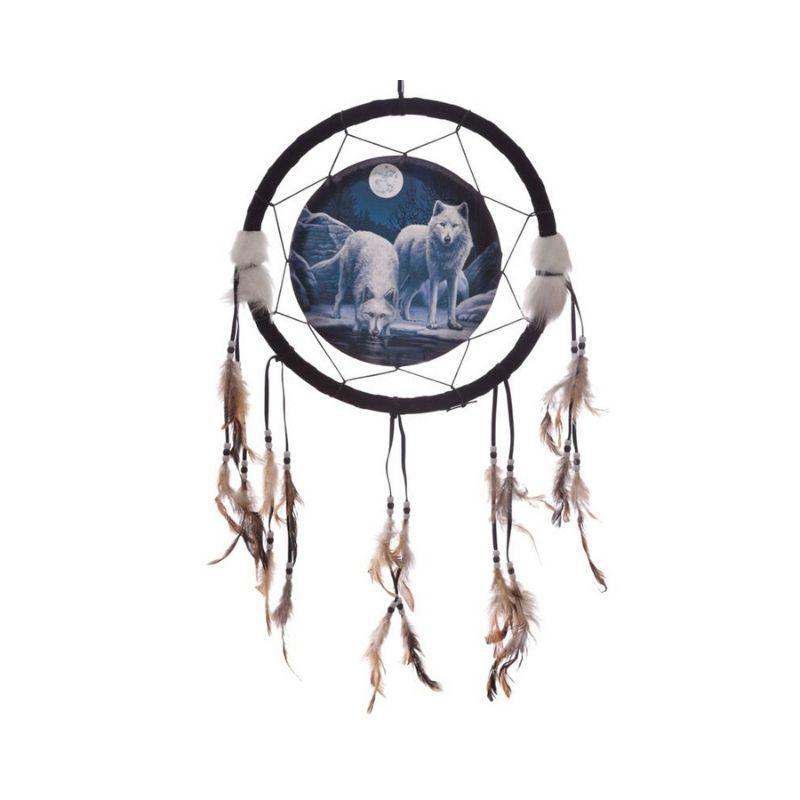 Atrapasueños  2 lobos con luna