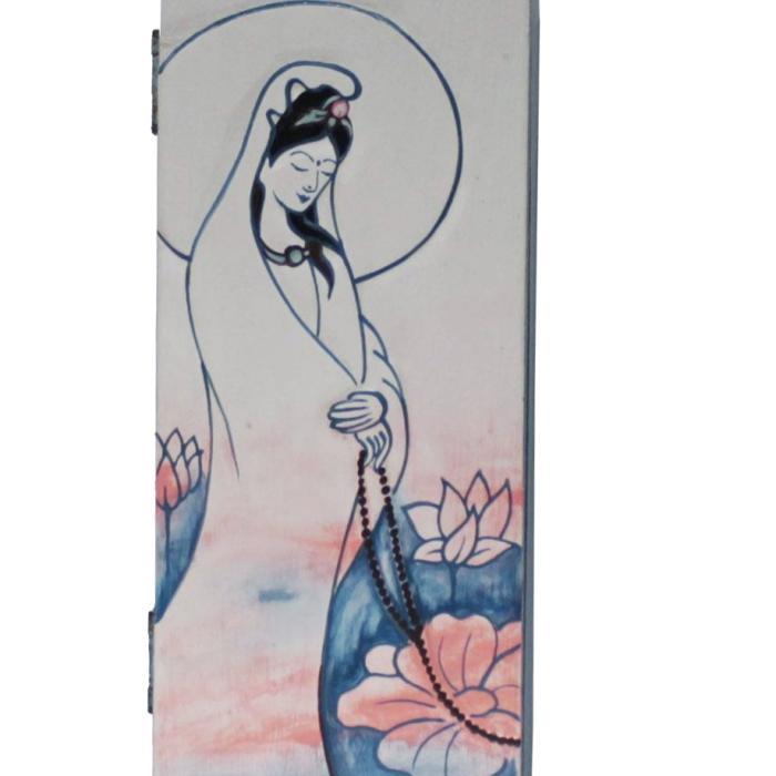 Caja de madera Guan Yin azul