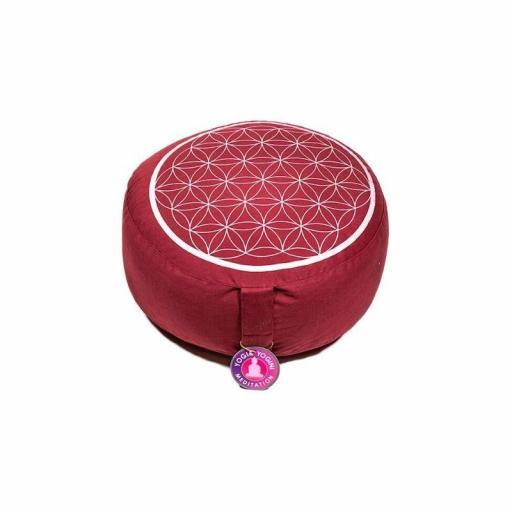 Cojín de Meditación Rojo con Flor de la Vida