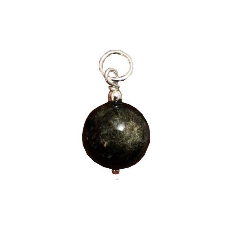 Colgante Bola de Obsidiana Dorada y Plata