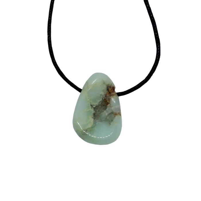 Colgante mineral perforado de crisoprasa