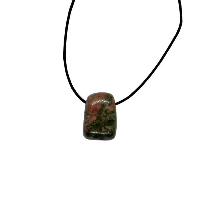 Colgante mineral perforado de unakita