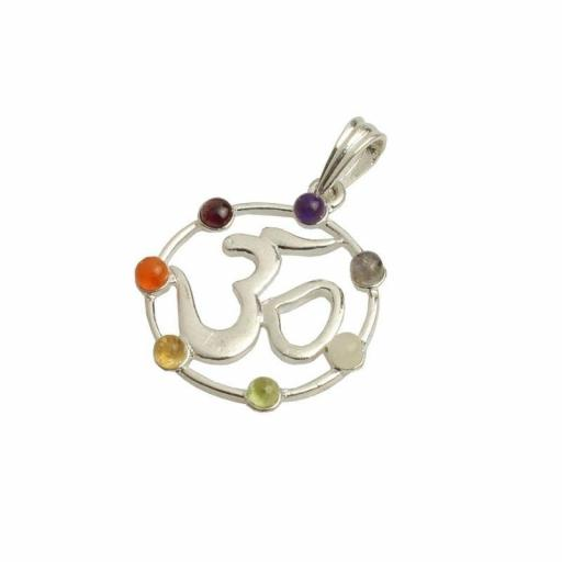 Colgante Om con Minerales de los Chakras