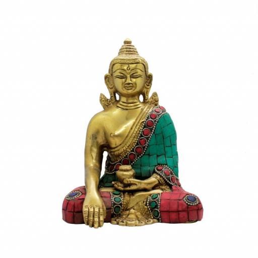 Figura buda de bronce con color