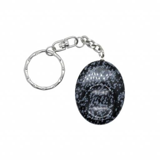 Llavero mineral anti estrés de obsidiana nevada