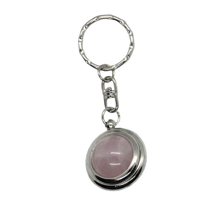 Llavero mineral bola de cuarzo rosa