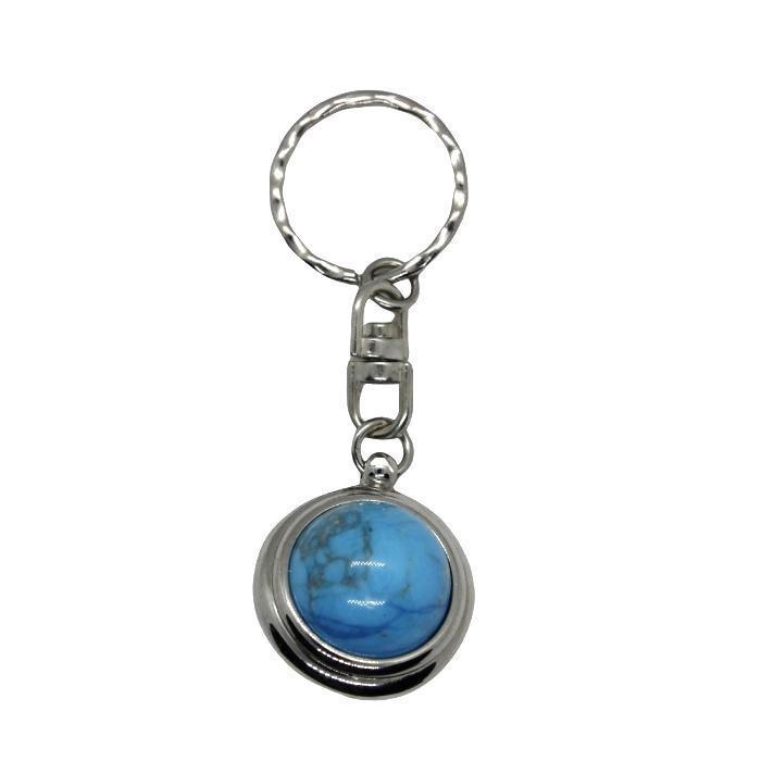 Llavero mineral bola de turquesa howlita