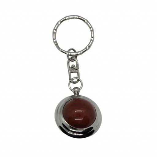 Llavero mineral bola de jaspe rojo