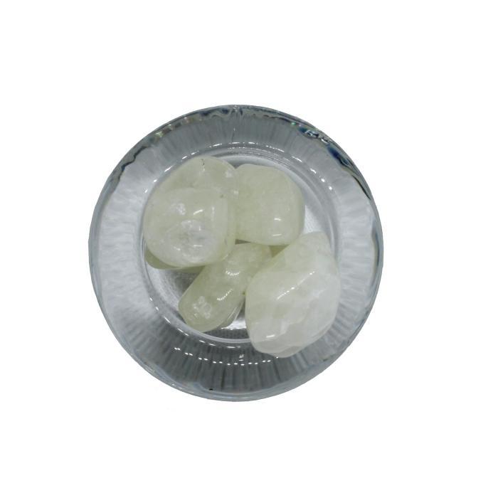 Mineral canto rodado de cuarzo con azufre