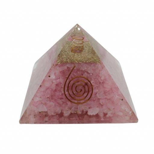 Pirámide de orgonite y cuarzo rosa de 9 x 9 cm