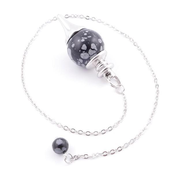 Péndulo bola de obsidiana nevada y metal
