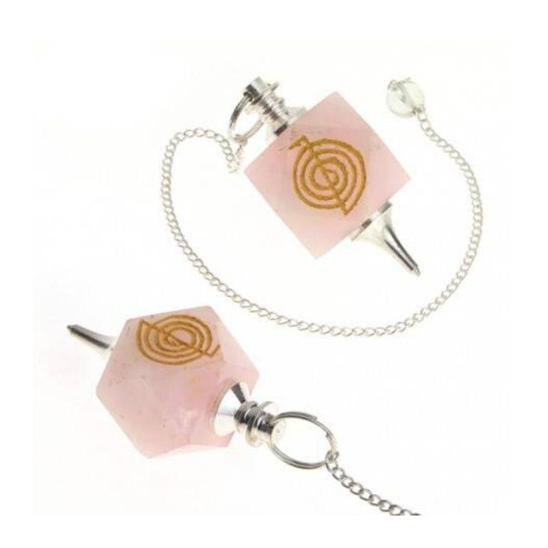 Péndulo mineral de cuarzo rosa con chokurei