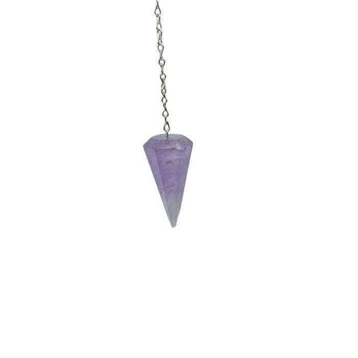 Péndulo prisma mineral de amatista