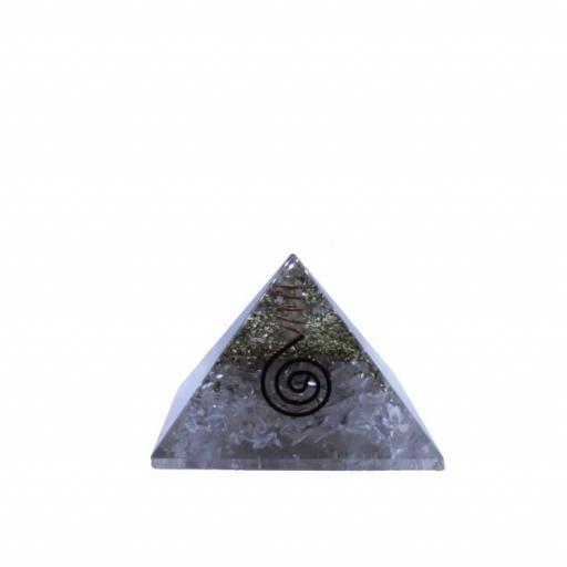 Pirámide de orgonite y cuarzo blanco grande