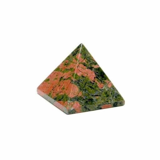 Pirámide mineral de unakita