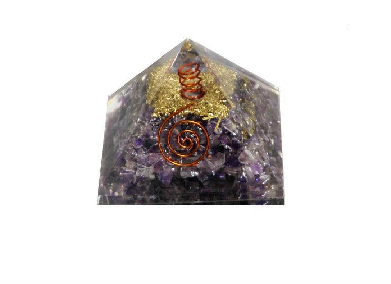 Pirámide de Orgonite y amatista grande
