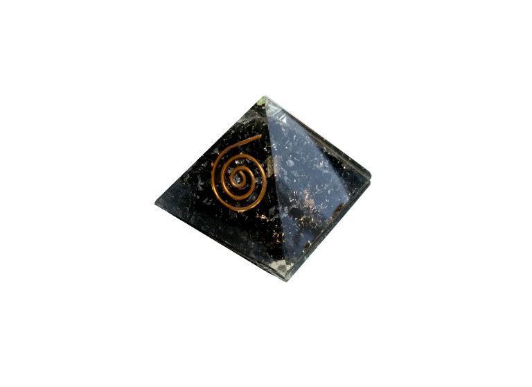 Pirámide de orgonite y turmalina negra de 4 x 4 cm