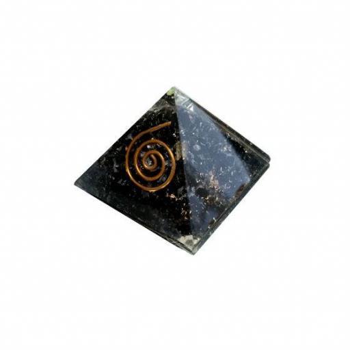 Pirámide de orgonite y turmalina negra de 4 x 4 cm [0]