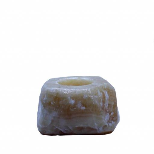 Portavelas mineral de calcita amarilla