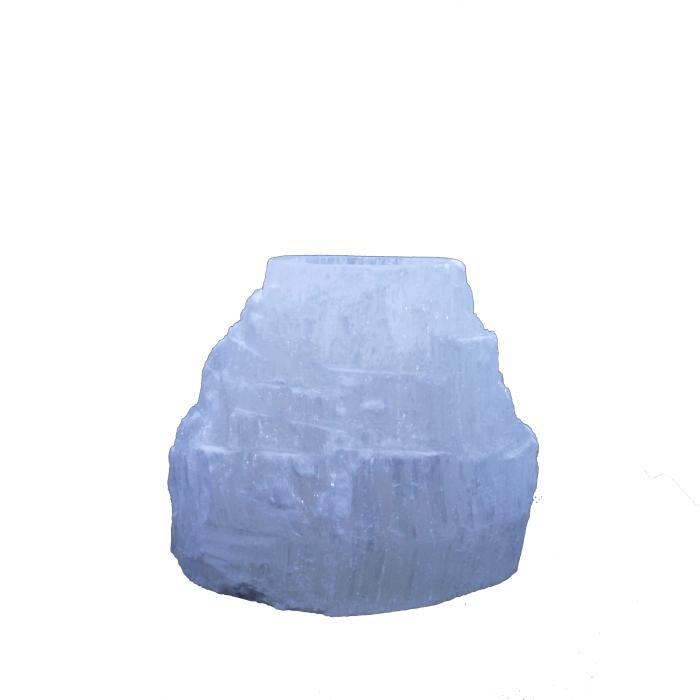 Portavelas mineral de selenita