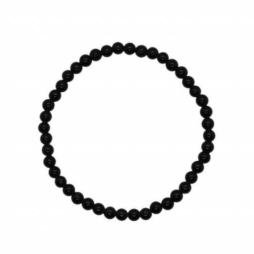 Pulseras de Bolas de 4 mm de Turmalina Negra