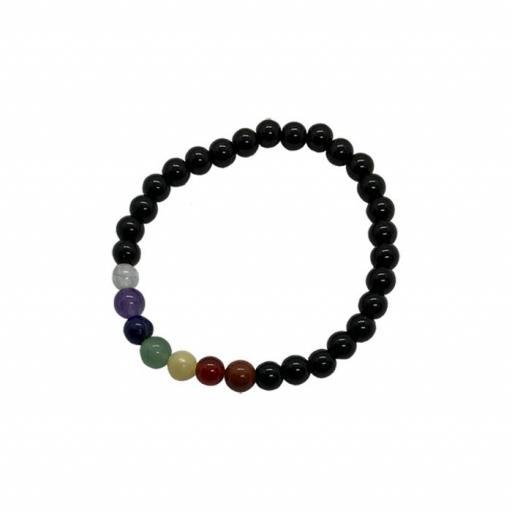 Pulsera mineral chakras con Obsidiana Negra