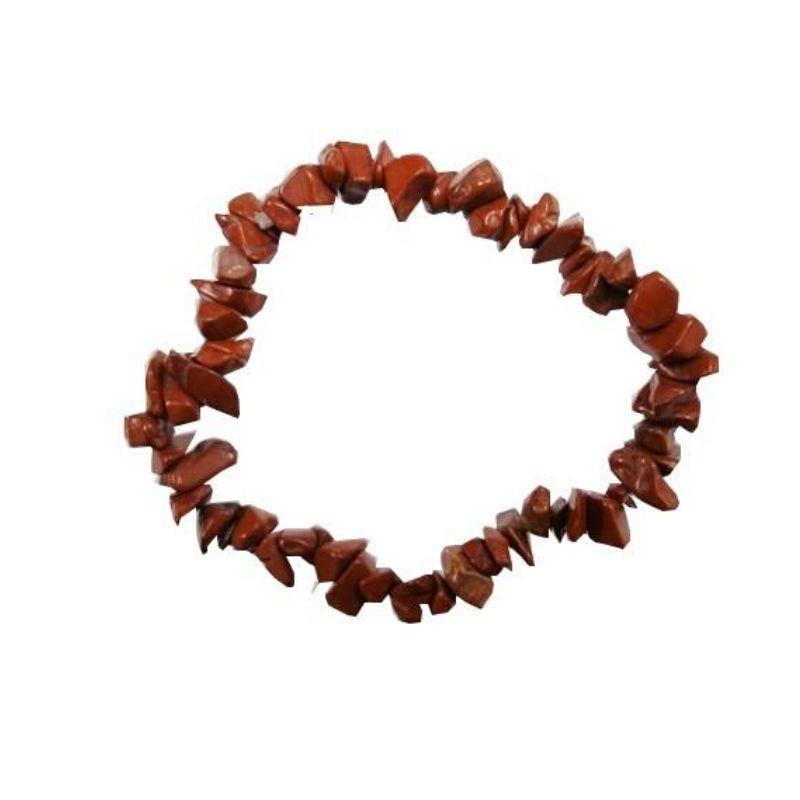 Pulsera mineral chip de jaspe rojo