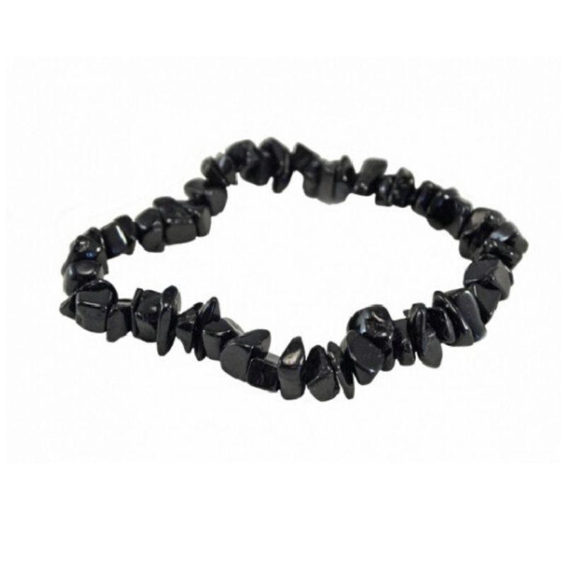 Pulsera Mineral Chip de Obsidiana Negra