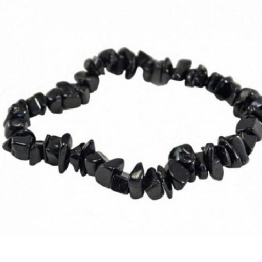 Pulsera Mineral Chip de Turmalina Negra