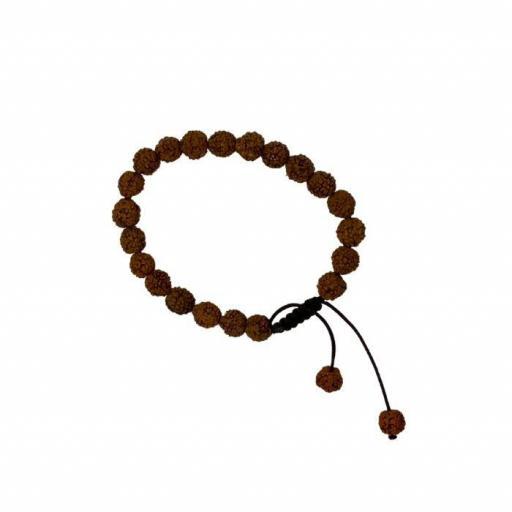 Pulsera de semilla de Rudraksha con nudo corredero