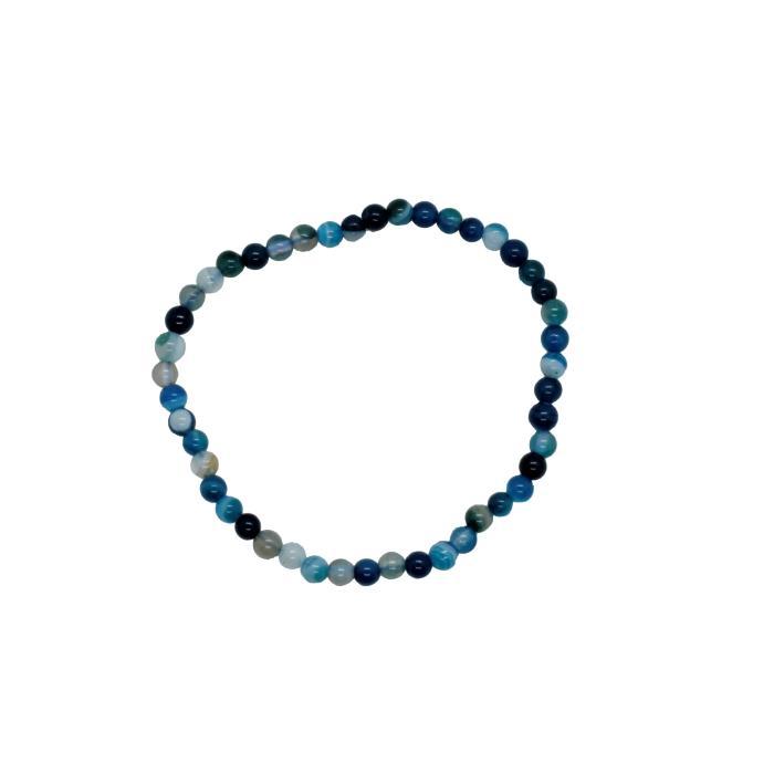 Pulsera Mineral Bola 4 mm de Ágata Azul
