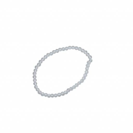 Pulsera mineral bola 4 mm  de cristal de roca