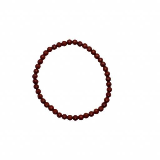 Pulsera mineral bola 4 mm de jaspe rojo