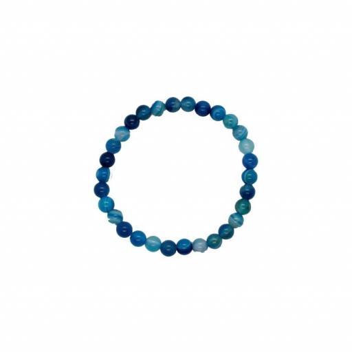 Pulsera Mineral Bola 6 mm de Ágata Azul