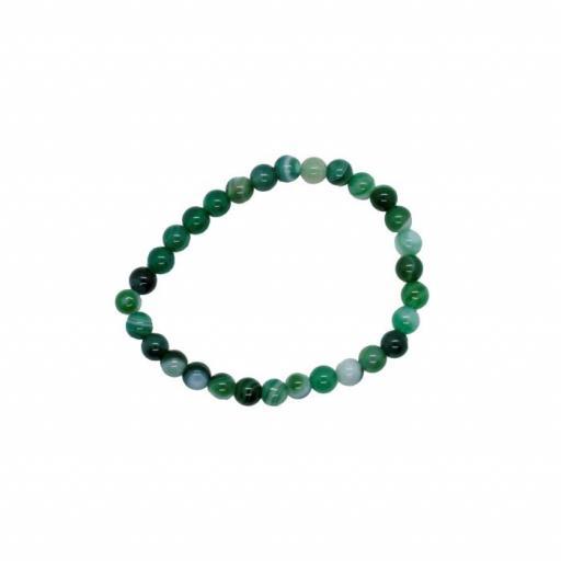 Pulsera mineral bola 6 mm de ágata verde