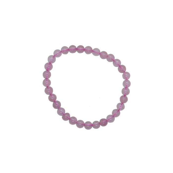 Pulsera mineral bola 6 mm de cuarzo rosa